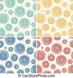 cirklarna, mönster, abstrakt, seamless, vektor, bakgrund, fodra