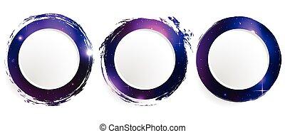 cirklarna, sätta, grunge, kosmisk, bakgrund., baner