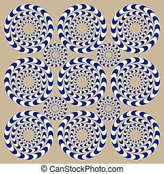 cirklarna, snurrande, (illusion)