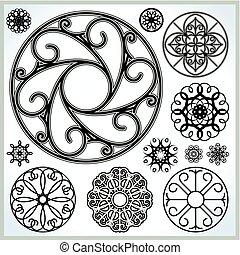 cirklarna, vektor, kollektion, utsirad