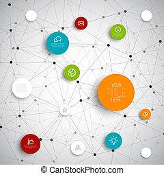 cirklarna, vektor, nätverk, abstrakt, infographic, mall