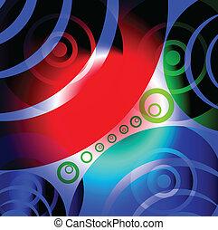 cirkler, abstrakt, glødende