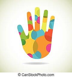 cirkler, abstrakt, lavede, singel, hånd