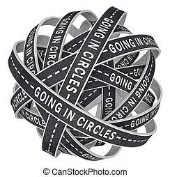 cirkler, mistede, konfusion, afrejse, veje, endeløse