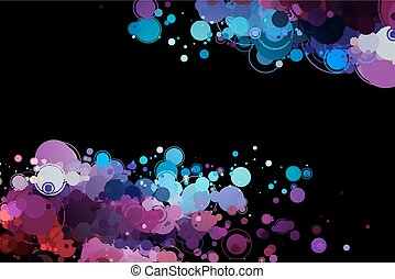 cirkler, sort, farvet baggrund
