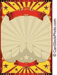 cirkus, årgång, affisch, stor topp