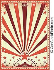 cirkus, årgång, brun, affisch