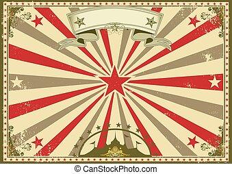 cirkus, årgång, horisontal, affisch