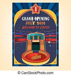 cirkus, affisch, avbild