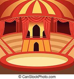 cirkus, arena, tecknad film, design., klassisk, arrangera, med, gul, och, röd, randig, kupol, sitt, och, curtains., bakgrund, för, affisch, eller, invitation., vektor
