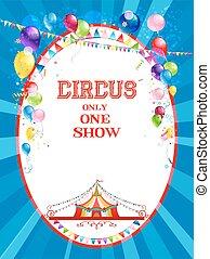 cirkus, lysande, affisch