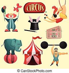 cirkus, ornamental, sæt