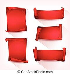 cirkus, sätta, pergament, röd, rulla
