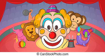 cirkus, vodorovný, prapor, klaun, karikatura, móda