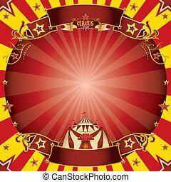 cirkusz, derékszögben, piros sárga