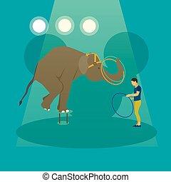 cirkusz, művész, vektor, arena., állatok, megtesz, akrobatisták, banner., fogalom, poszter, előadás, előadás