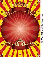 cirkusz, piros sárga