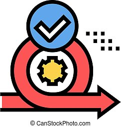 cirlce arrow and gear approved mark color icon vector. cirlce arrow and gear approved mark sign. isolated symbol illustration