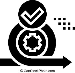 cirlce arrow and gear approved mark glyph icon vector. cirlce arrow and gear approved mark sign. isolated contour symbol black illustration