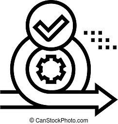 cirlce arrow and gear approved mark line icon vector. cirlce arrow and gear approved mark sign. isolated contour symbol black illustration