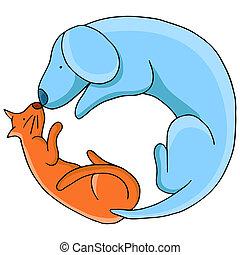 cirlce, cane, gatto