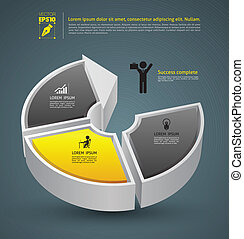 Cirle arrow 3d - Vector business concepts with icons / can...