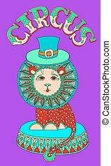 cirque, 芸術, inscriptio, -, 主題, ライオン, 線, 帽子, 図画