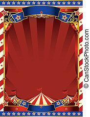 cirque, américain, vieux, rayé