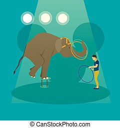 cirque, artistes, vecteur, arena., animaux, exécuter, ...
