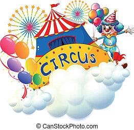 cirque, au-dessus, nuages