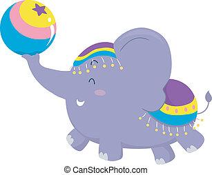 cirque, balle, éléphant