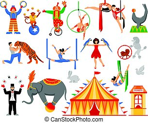 cirque, caractères, collection, artiste