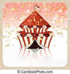 cirque, carte voeux, retro