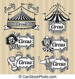 cirque, ensemble, logos, vendange, étiquettes, vecteur, emblèmes