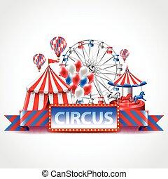 cirque, fête foraine amusante, carnaval, vecteur, fond
