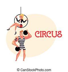 cirque, interprètes, -, strongman, et, voltigeur, gymnaste, séance, sur, aérien, cerceau