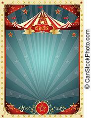 cirque, retro, fond, crème