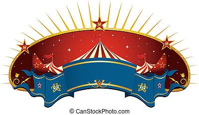 cirque, rouges, bannière