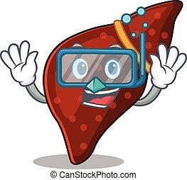 cirrhose, foie, humain, conception, concept, plongée, portant lunettes, mascotte