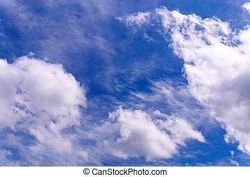 Cirrus clouds in the sky background, texture. Cumulonimbus clouds