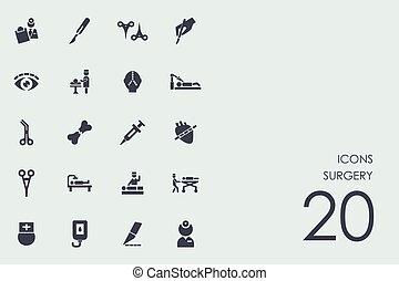 cirugía, conjunto, iconos