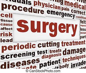 cirugía, médico, cartel