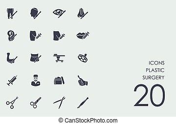 cirugía plástica, conjunto, iconos