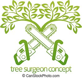 cirujano de árbol, cainsaws, diseño