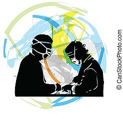 cirujanos, circundante, paciente