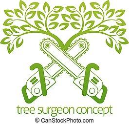 cirurgião árvore, cainsaws, desenho