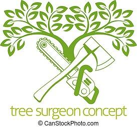 cirurgião árvore, machado, e, cainsaw, desenho