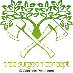 cirurgião árvore, machados, desenho