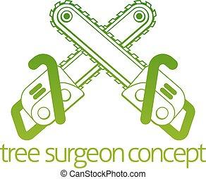 cirurgião, conceito, árvore, machado, cainsaw