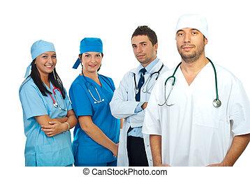 cirurgião, homem, e, seu, equipe